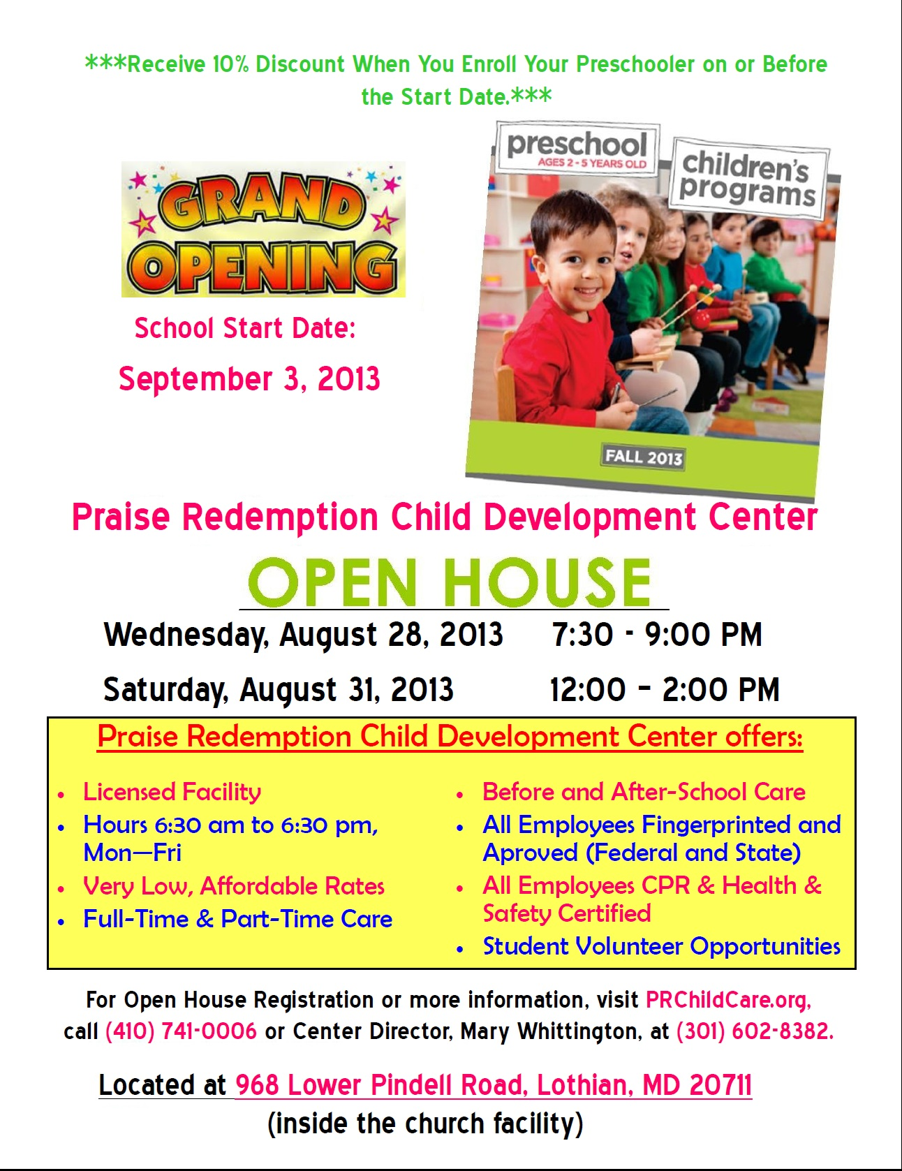 praise redemption child development center lothian md letter of open houses