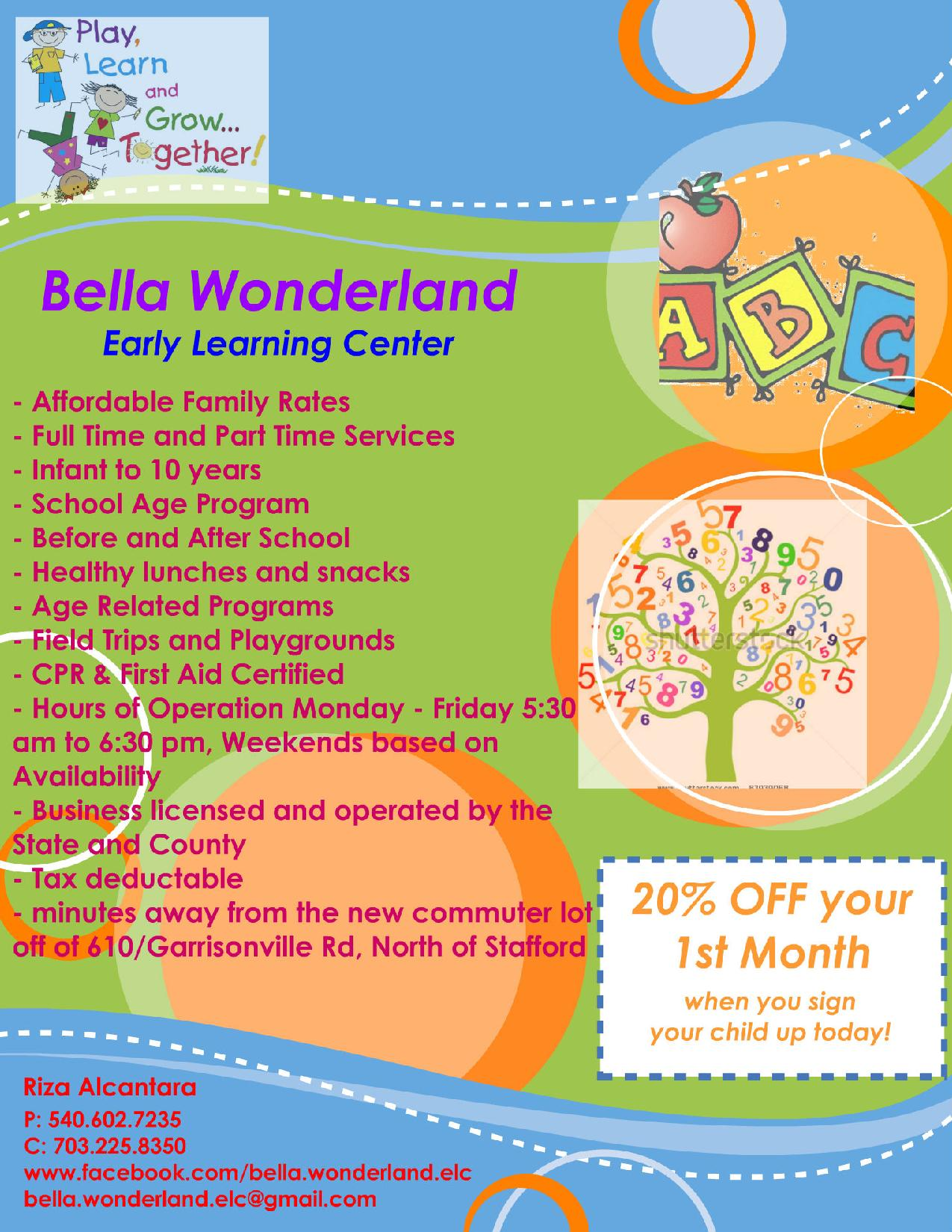 bella wonderland early learning center stafford va home daycare